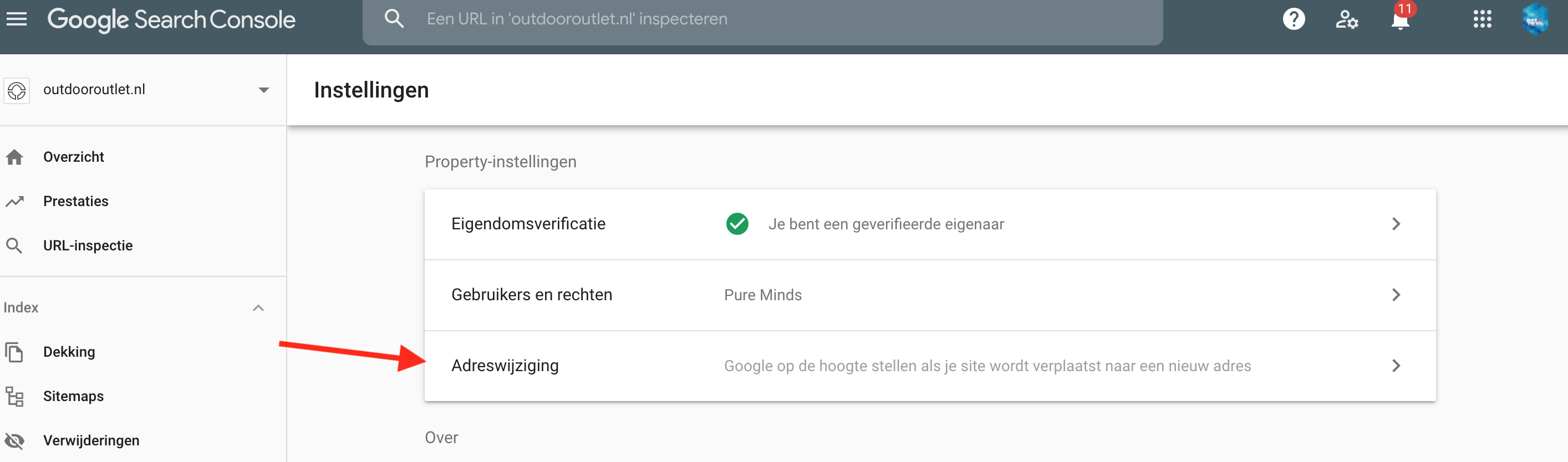 Search Console adreswijziging