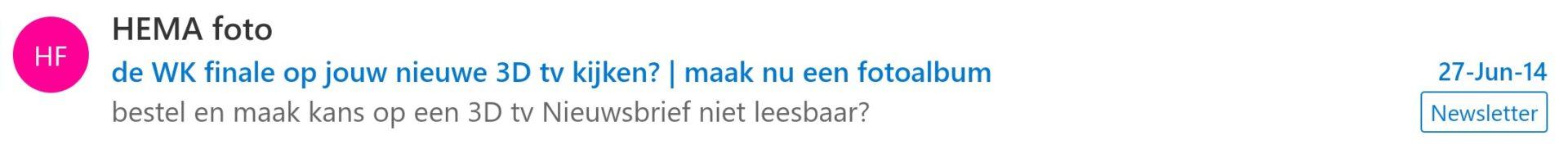 e-mail voorbeeld hema